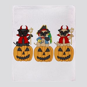 Halloween Trick or Treat Pugs Throw Blanket